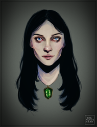Green Amulet Witch by themoodycrab