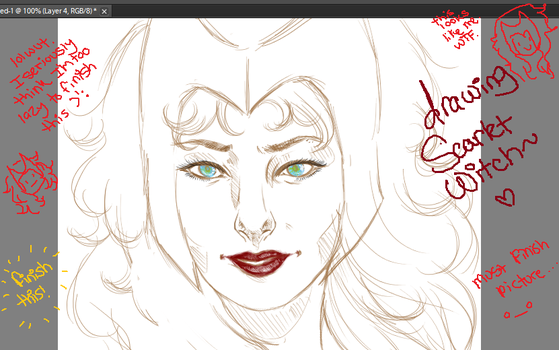 Drawing Scarlet Witch by LainaofthesandLOL