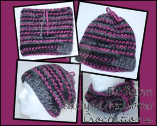 All in One Slouchy Hat Cowl - Crochet Pattern by crochetions