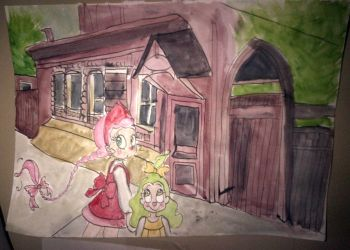 Konfetka  and Junbug in front of the house by 17cherry