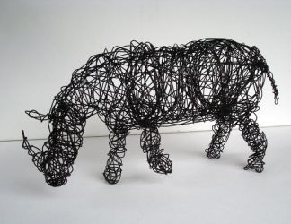 Wire Rhino by bluedogrose