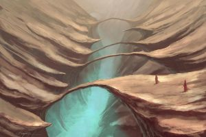 landscape speedpainting gorge by chimpinx