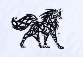 Celtic Wolf Tribal by Skrayle