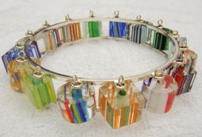 Modern Cane Glass Bracelet by kjtgp1