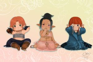 Three wise Lalafells by Poticceli