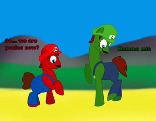 Mario and Luigi Ponies by dolphin2