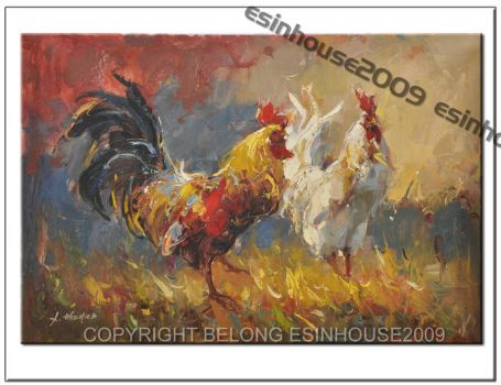Oil Painting Rooster Art Chick by esinhouse2009