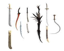 XPS and MMD Curve swords pack by Tokami-Fuko