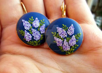Valley of lilacs polymer clay earrings jewelry by LenaHandmadeJewelry