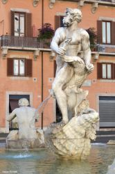 Detail of one of the fountains at Piazza Navona in by Book-Art
