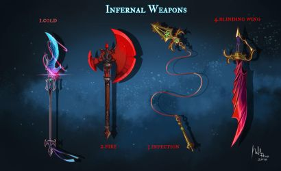 OPEN Adoptable: Infernal Weapons by Hassly