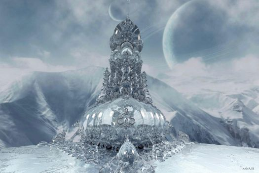 Ice sculpture in the mountains by marijeberting