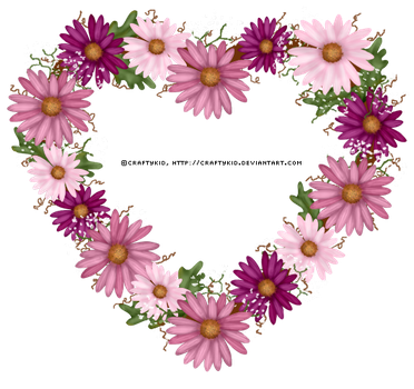 Pink Daisies Heart - PNG file by Craftykid
