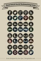 Free Hand Stitch Social Bookmarking Icons by Designbolts