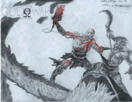 Kratos VS The Dark Rider by Cakedcrevice