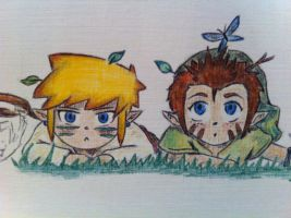 Link and Pipit: Bug catching professionals by Alibax-Sombre
