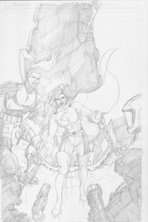 Diamond Girl cover pencils by Joe-Singleton