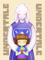 Toriel, Frisk and Flowey - Undertale by okaces