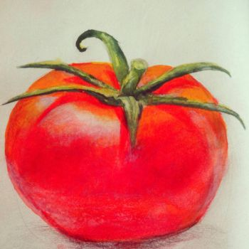 Watercolor Tomato - Quick Painting by fluffelkuh