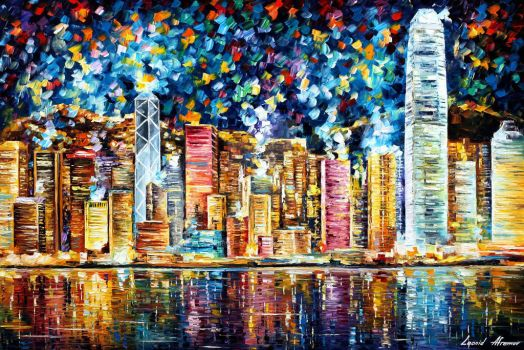 Hong Kong by Leonid Afremov by Leonidafremov