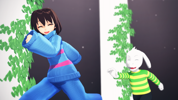Frisk playing with Asriel by MMDSatoshi