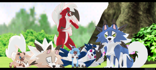MMD Sun and Moon: Lycanroc and Rockruff by kaahgomedl