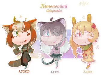 Kemonomimi Adoptables [Open 2/3] by gobithedogsadopts