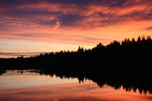 night waterscape in Finland by Repzd