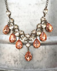 Blush and Crystal One of a Kind Statement Necklace by rewelliott