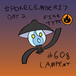 Pokecember 2017 Day 2: Fire Type - Lampent by DreamerTony