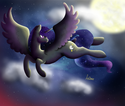 Commission - A dance with the Moon by Kalimoo-Art
