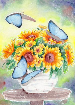 A Poem Of Butterflies And Sunflowers by DasFarbspiel