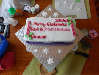 Red Hatters Christmas cake by Thylacina