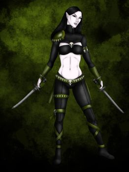 Ellara the Devkarin Ninja (OC) (shaded) by leonaheidern