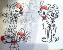 Wakko and Yumi sketches by 17cherry