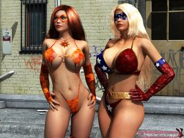 Patriotica and Solar Girl looking at..who knows by mrbunnyart