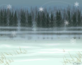 Snowy Pine Forest - Free 2 Use Background by daggerstale