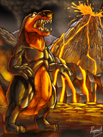 Monsters of my dreams- Volcanic Dinosaur by Respeanut