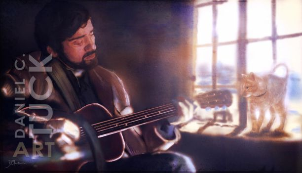 Folk Singer with a Cat by dctuck