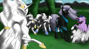 Alicorn Statue Party by Backlash91