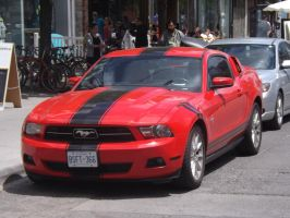 The Red Mustang At Queen Near Spadina #2 by Neville6000