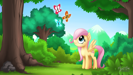 Young Fluttershy - Filled with Wonders 16:9 by mysticalpha