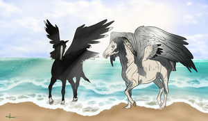 ~ Asgardians on the beach ~ by CalyArt