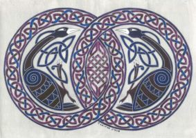 two birds in knotwork circle by spookyt5