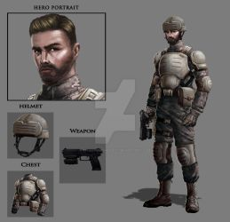 Art Test - Military Game: Hero + Equipment by effektdmentality