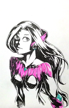 Microcosmos girl: ink on paper by ALICE-rocket
