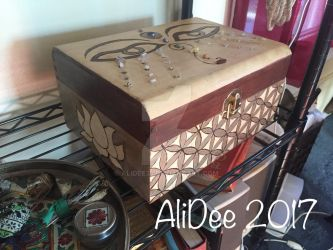 Eyes of Buddha, flower of life, lotus burnt box 1 by AliDee33