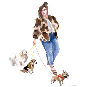 Lady with dogs by takmaj