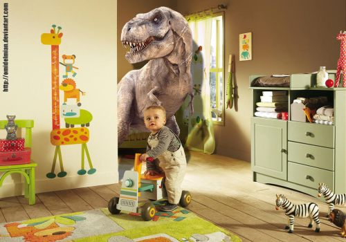 Tyrannosaurus in baby room ! :D by omidelmian