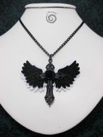 Black and White Winged Cross Necklace by Gloomyswirl